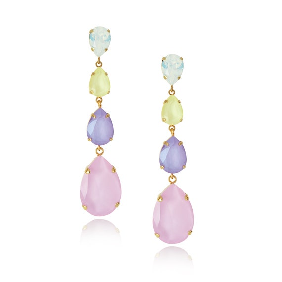 Long Drop Statement Earrings in delicate pastel