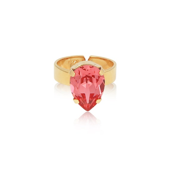 Mini Drop Crystal Ring in Rose Peach