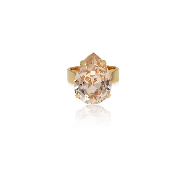 Midi Drop Crystal Ring in Champagne