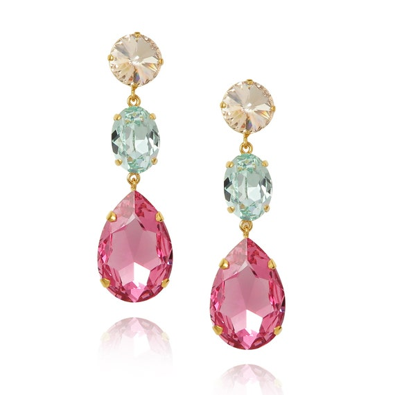 Triple Drop Crystal Earrings in Paris
