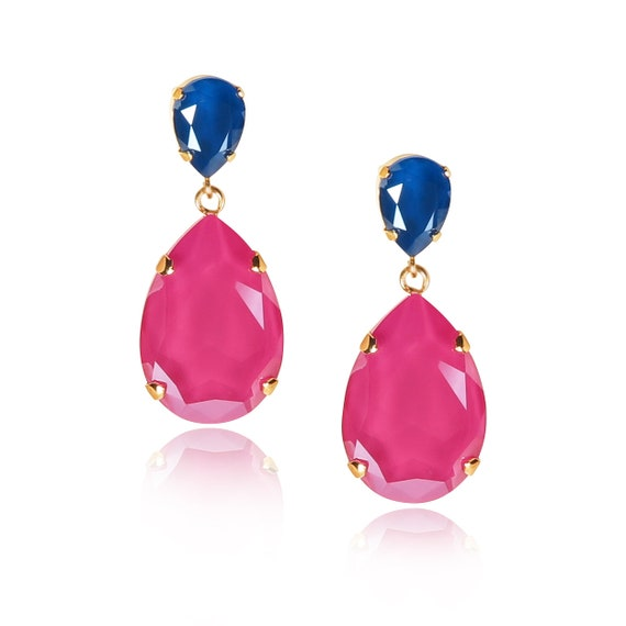 Classic Drop Earrings in Peony Pink and Navy Blue