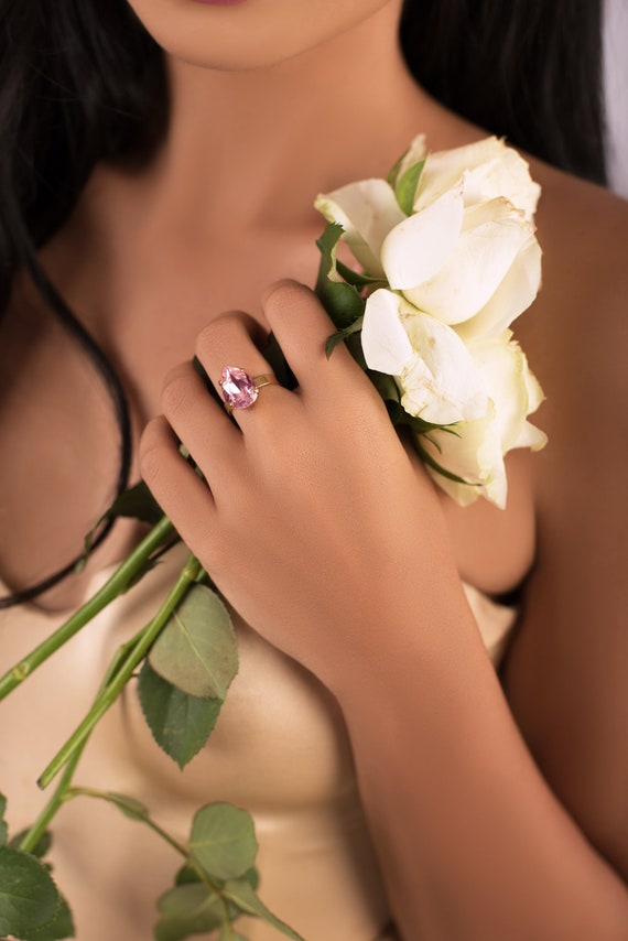 Mini Drop Crystal Ring in Rosaline Pink