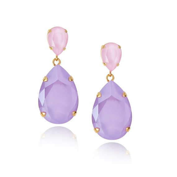 Classic Drop Earrings in Lilac and Powder Pink