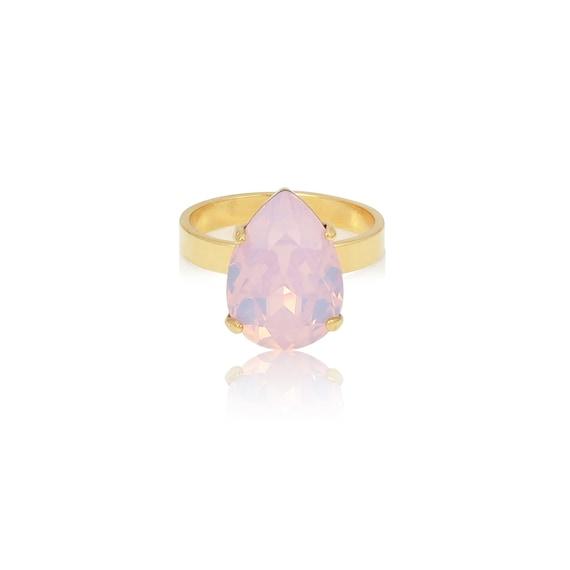 Mini Drop Crystal Ring in Pink Opal