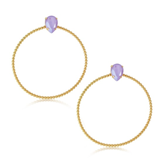 Stone Side Hoops in Lilac