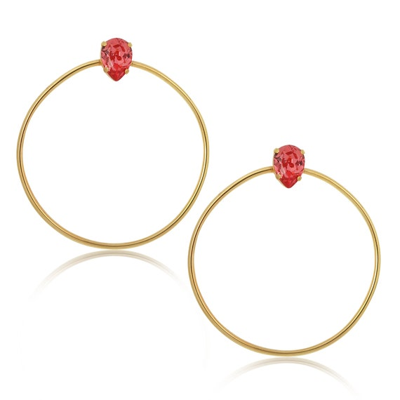 Stone Side Hoops in Padparadsha