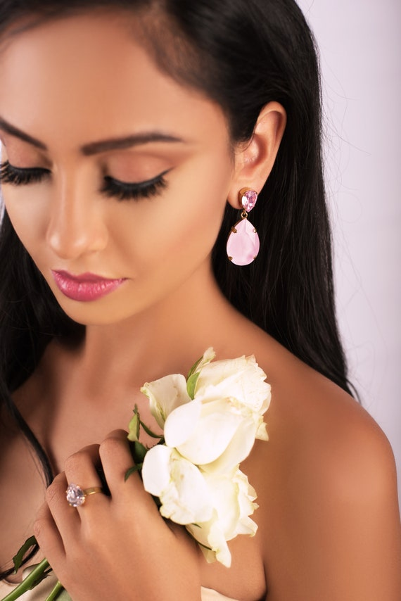 Classic Drop Earrings in Rosaline and Powder Pink