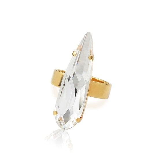Swarovski Raindrop Crystal Ring