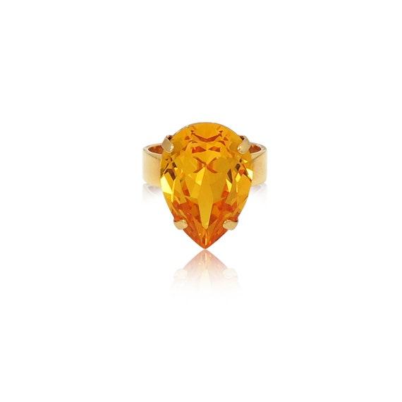 Midi Drop Crystal Ring in Sunshine Yellow
