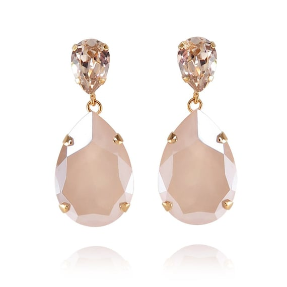 Classic Drop Earrings in Champagne and Creme