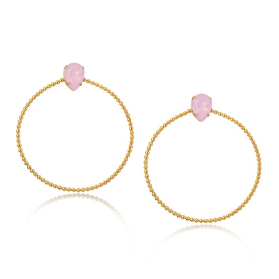Stone Side Hoops in Pink Opal
