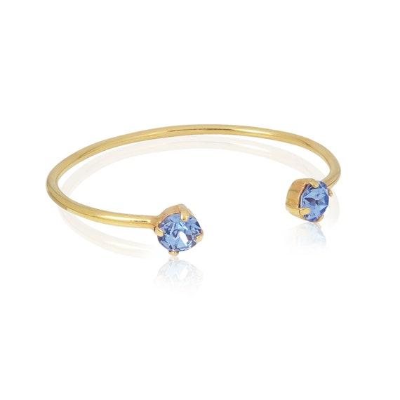 Stone bangle cuff in Sapphire Blue