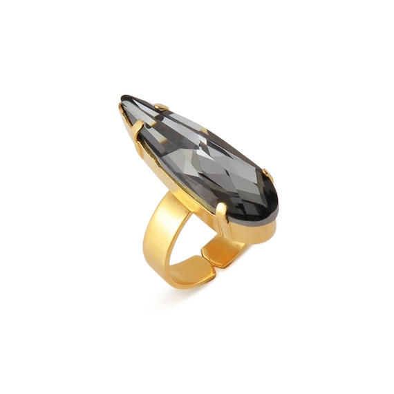 Black Diamond Swarovski Crystal Ring