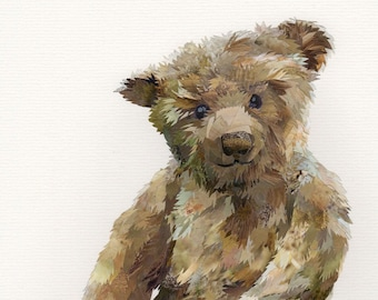 Big Ted, collage, signed limited edition A4 print.
