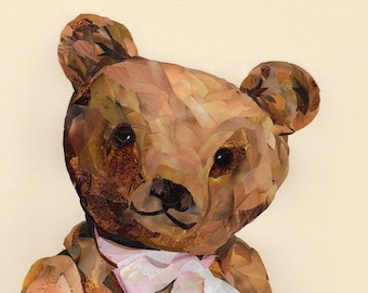 Honey Bear, collage, signed limited edition A4 print