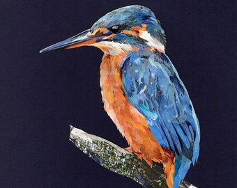 Kingfisher #2 collage, signed limited edition A4 print