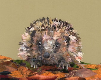 Hattie the Hedgehog, collage, signed limited edition A4 print
