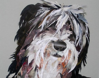 Deric the Bearded Collie collage, signed limited edition A4 print