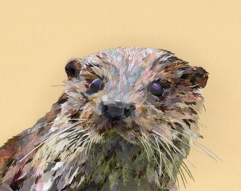Otter, collage, signed limited edition A4 print
