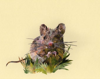 Matilda Mouse collage, signed limited edition A4 print