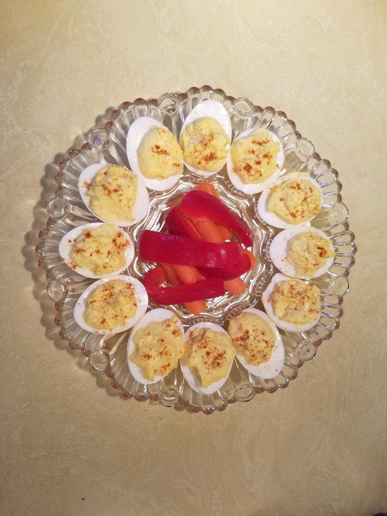 deviled egg platter Deviled egg plateplatter in clear glass egg platter deviled egg plate egg plate