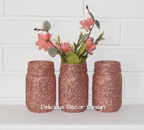 3 Rose gold Mason Jars,Wedding Table Decor, Vases For Centerpieces, Baby  Showers,Bridal Showers,Rose Gold Decorations,Glitter Jar Vases.