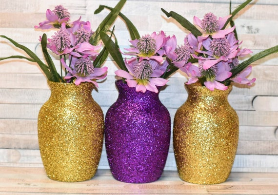 Wedding Centerpieces Purple And Gold Decorations Baby Shower Etsy