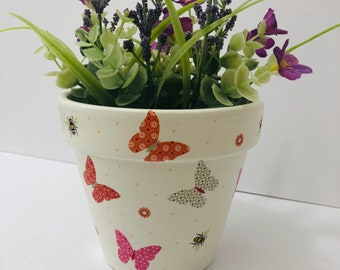 Hand Painted And Decoupaged Terracotta Flower Pot Multicoloured Butterflies Bumblebees Funky Pot & Funky flower pot   Etsy