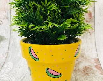 Free Hand \u0026 Totally Hand Painted Terracotta Flower Pot Planter 11cm Funky Pot Spring Summer & Funky flower pot   Etsy