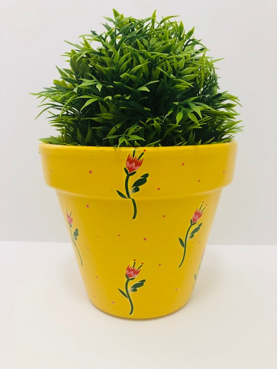 50 & Hand Painted And Decoupaged Flower Pot Planter Funky Pot   Etsy