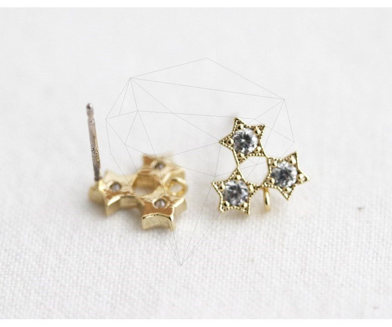 -E3420-G Gold-Triple Cubic Star Post Earring 2pcs