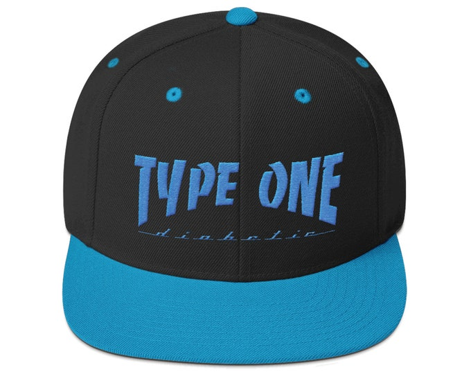 T1D Snapback Hat- Teal by 28 Units Diabetic Apparel Co. - Type One Diabetes Shirt