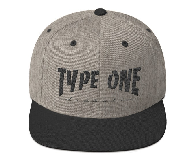 T1D Snapback Hat - Grey by 28 Units Diabetic Apparel Co. - Type One Diabetes Shirt