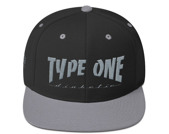 T1D Snapback Hat - Black by 28 Units Diabetic Apparel Co. - Type One Diabetes Shirt