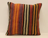Vintage Throw pillow cover 18x18 in ( 45x45 cm) Turkish kilim Pillow Minimalist Cushion cover Sofa pillows 4k4bf-677