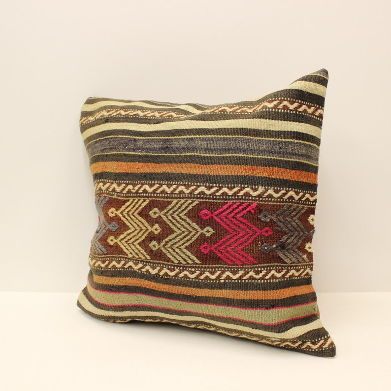 Handmade Kilim Pillow Covers 20x20 inches 50x50 cm Bolster Pillow Handmade Rug Pillow Case Throw Pillow 4ef-871