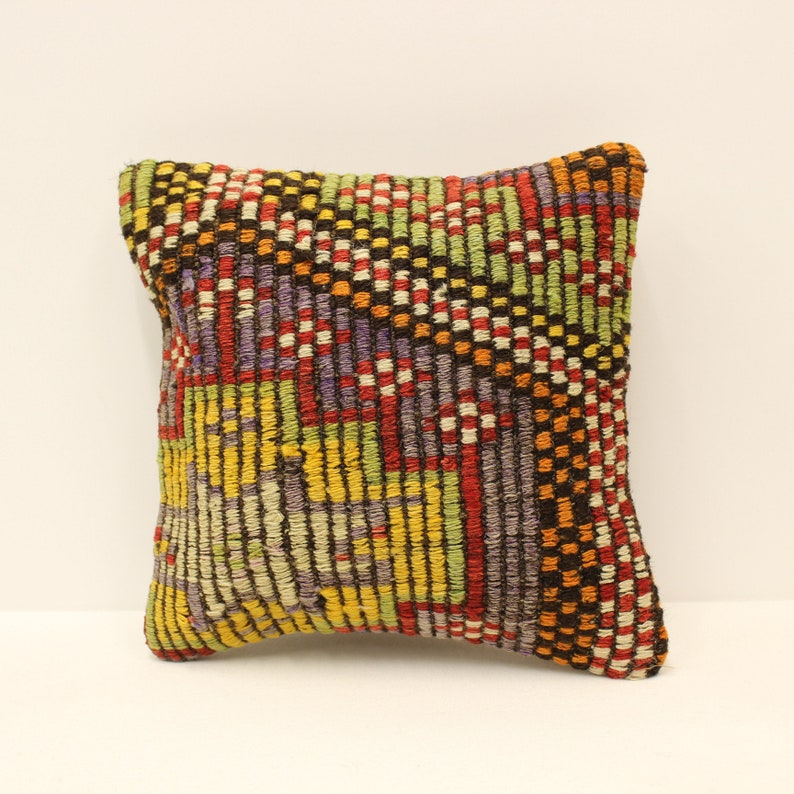 Turkish Kilim Cushion Cover 12x12 inches 30x30 cm Boho Pillow Cover Vintage Rug Pillow Throw Pillow Red Sofa Home Decor 4of-635