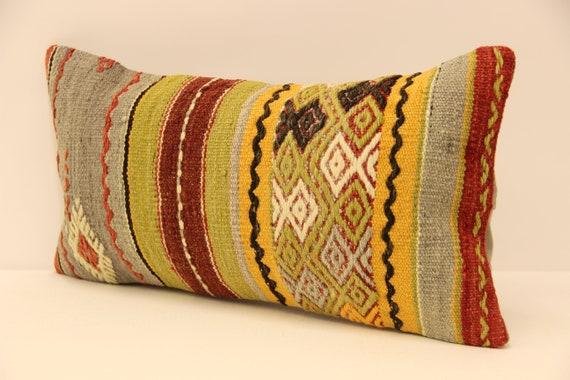 Fait à la main kilim lombaire coussin 10x20inch 25x50cm Oriental Boho pillowTurkish Kilim housse chaise petit oblongue Coussin housse Tribal 4yef-46
