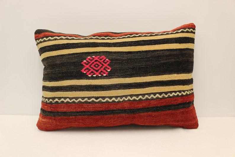 Handmade Pillow Cover 16x24 in 40x60 cm Lumbar Brown Black Blue Flaming Bedding Pillow Vintage Kilim Cushion Sofa Pillow 4kaf-500
