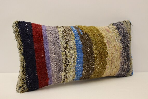 4yef-266 25x50 cm Colorful Accent Sofa Pillow  Throw Cushion Cover 10x20 in Vintage Turkish Kilim Pillow