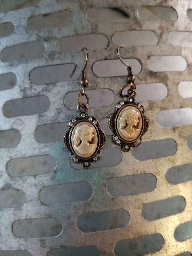 Antique Bronze Cameo Earrings