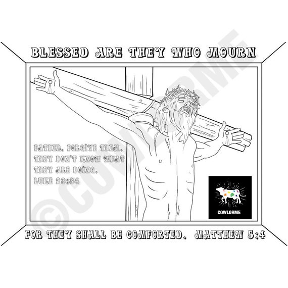 Jesus Coloring Page Easter Coloring Page The Beatitudes Coloring Page Bible  Verse Coloring Page Sunday School Lesson for Adults
