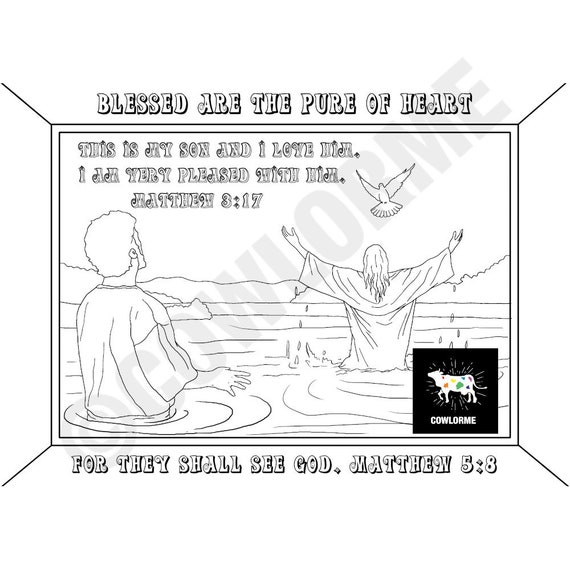 Bible Story Coloring Page The Beatitudes Coloring Page Baptism Coloring  Page Jesus Coloring Page Bible Verse Coloring Page Sunday School