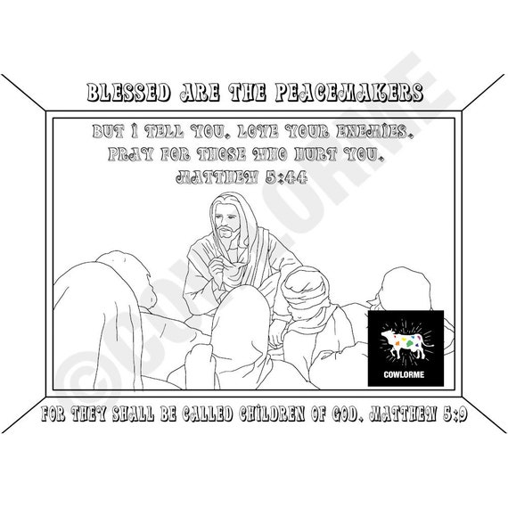 Bible Story Coloring Page The Beatitudes Coloring Page Jesus Coloring Page  Bible Verse Coloring Page The Peacemakers Coloring Page PDF
