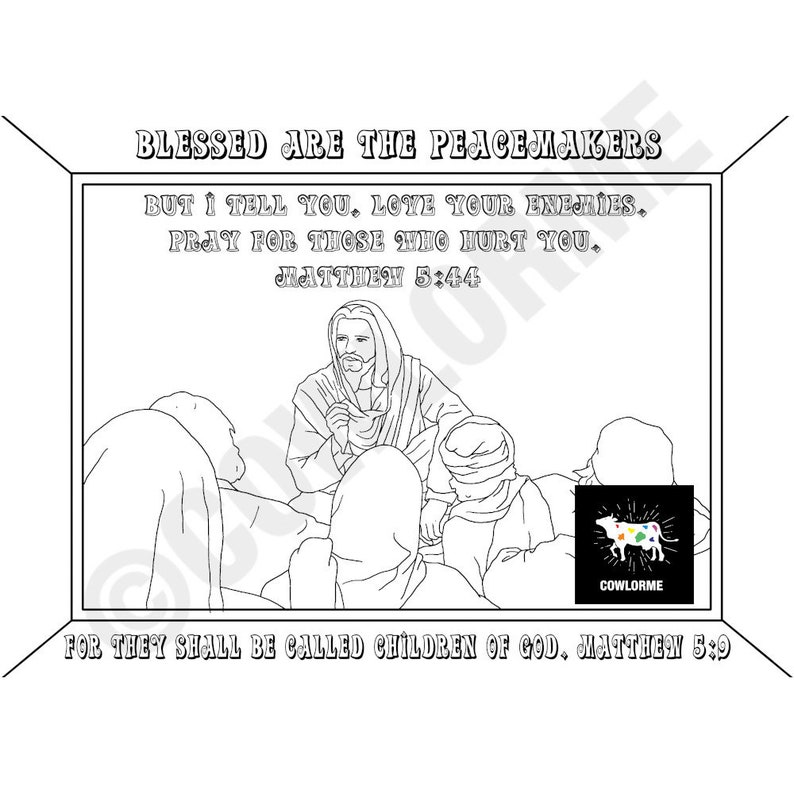Bible Story Coloring Page The Beatitudes Coloring Page Jesus | Etsy