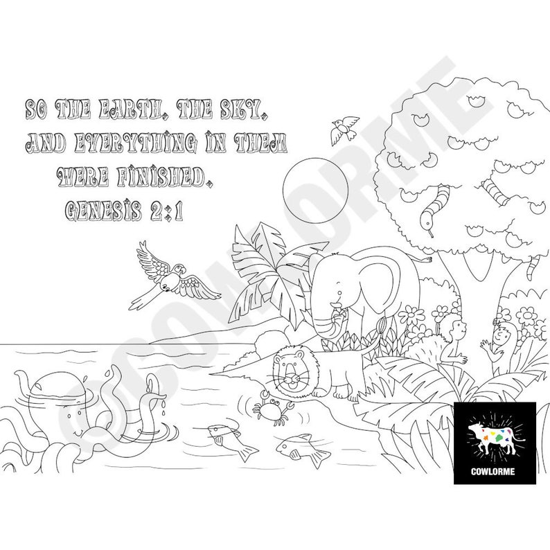 Sunday School Coloring Page Garden of Eden Coloring Page 7 Days of Creation  Coloring Sheet Printable Coloring Page PDF Sunday school Lesson