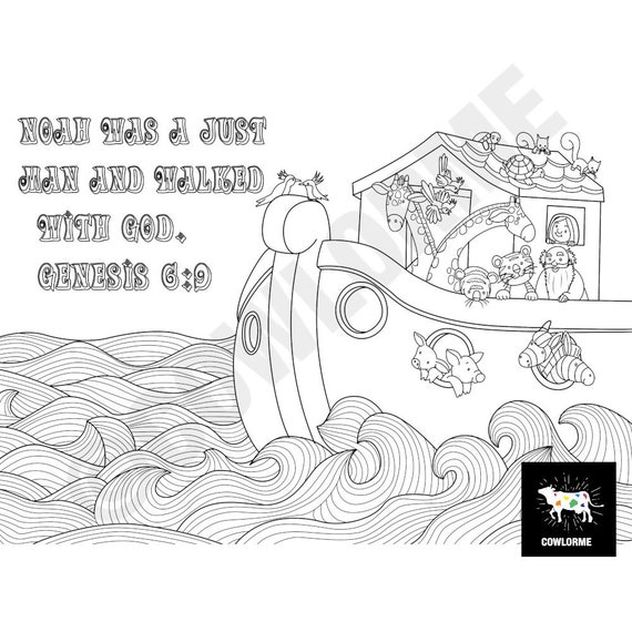Bible Coloring Page Noah\'s Ark Coloring Kid Coloring Page Sunday School  Lesson Sunday School Activity Sunday School Craft Sunday School Game