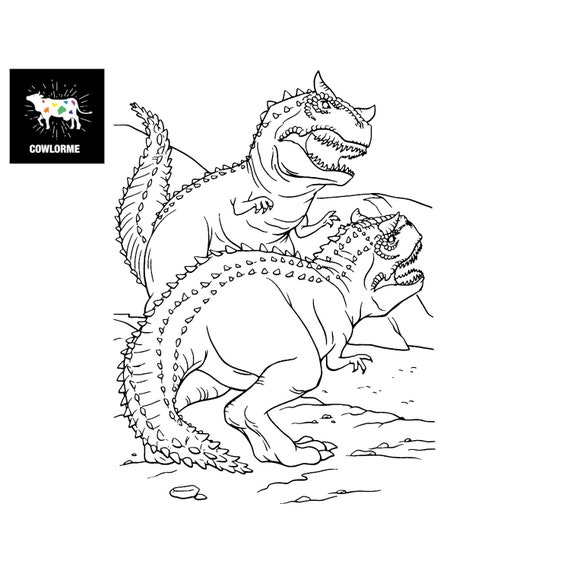 Dinosaur Coloring Page For Kids Coloring Page T Rex Coloring Etsy