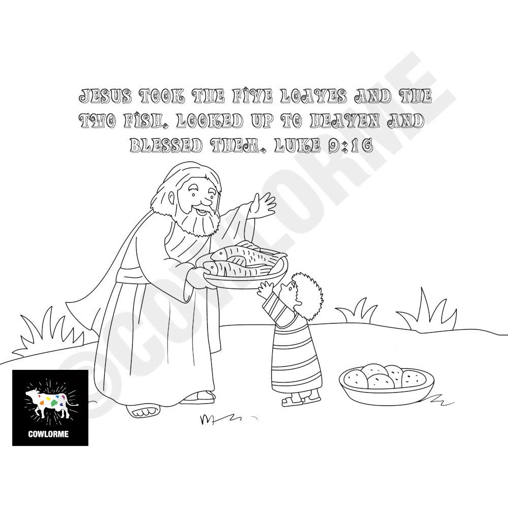 Kids Sunday School Five Loaves Two Fish Coloring Page Bible Etsy