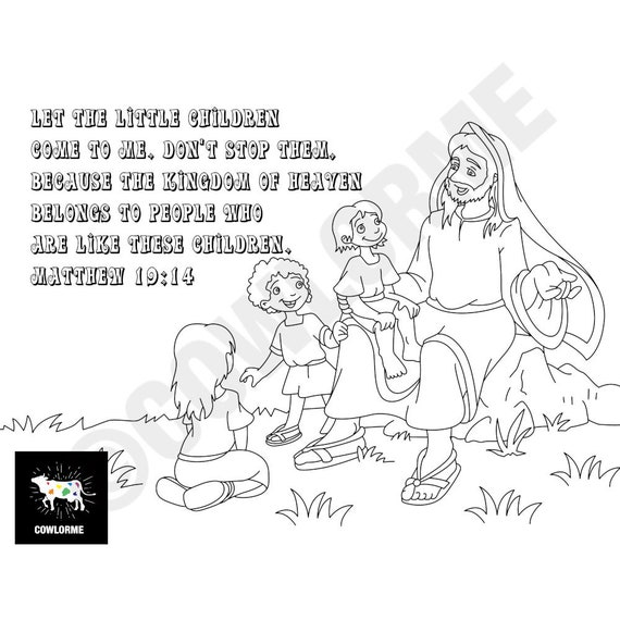 Bible Coloring Kids Matthew 19 14 Coloring Page Kids Sunday Etsy